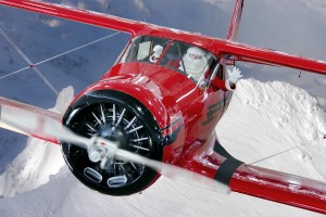 """Santa in a Staggerwing"" Credit: Liz Matzelle / Historic Flight Foundation"