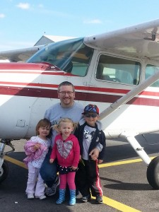 "Certified Flight Instructor Andrew Hartley with his youngest ""students!"""
